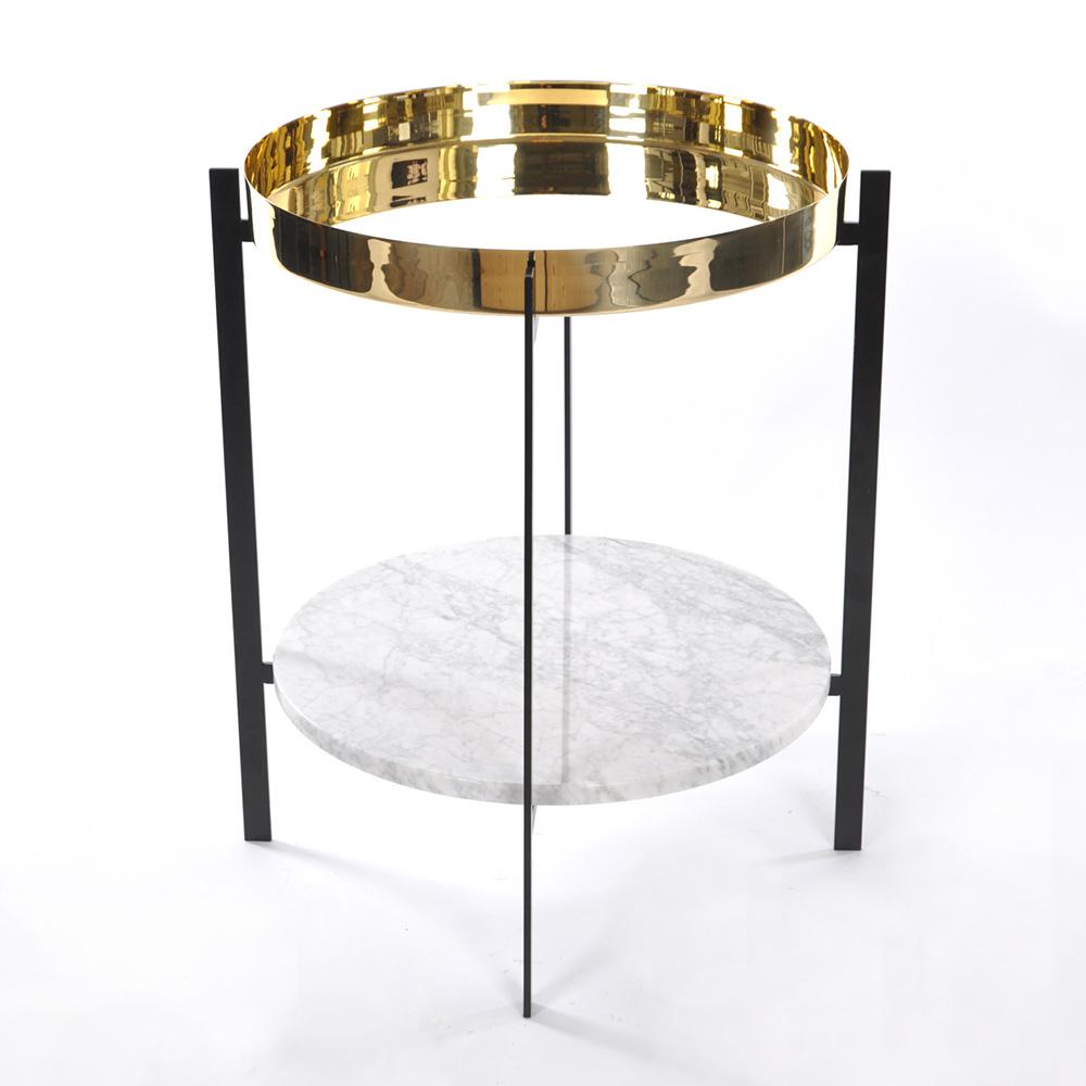 Deck Sidobord Vit Marmor/Mässing