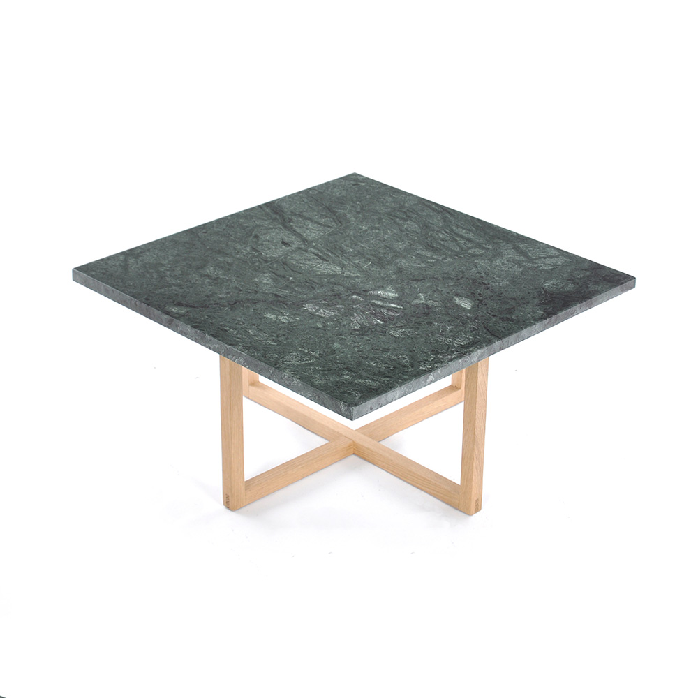 Ninety Soffbord 60x60x30 cm Grön Marmor/Trä