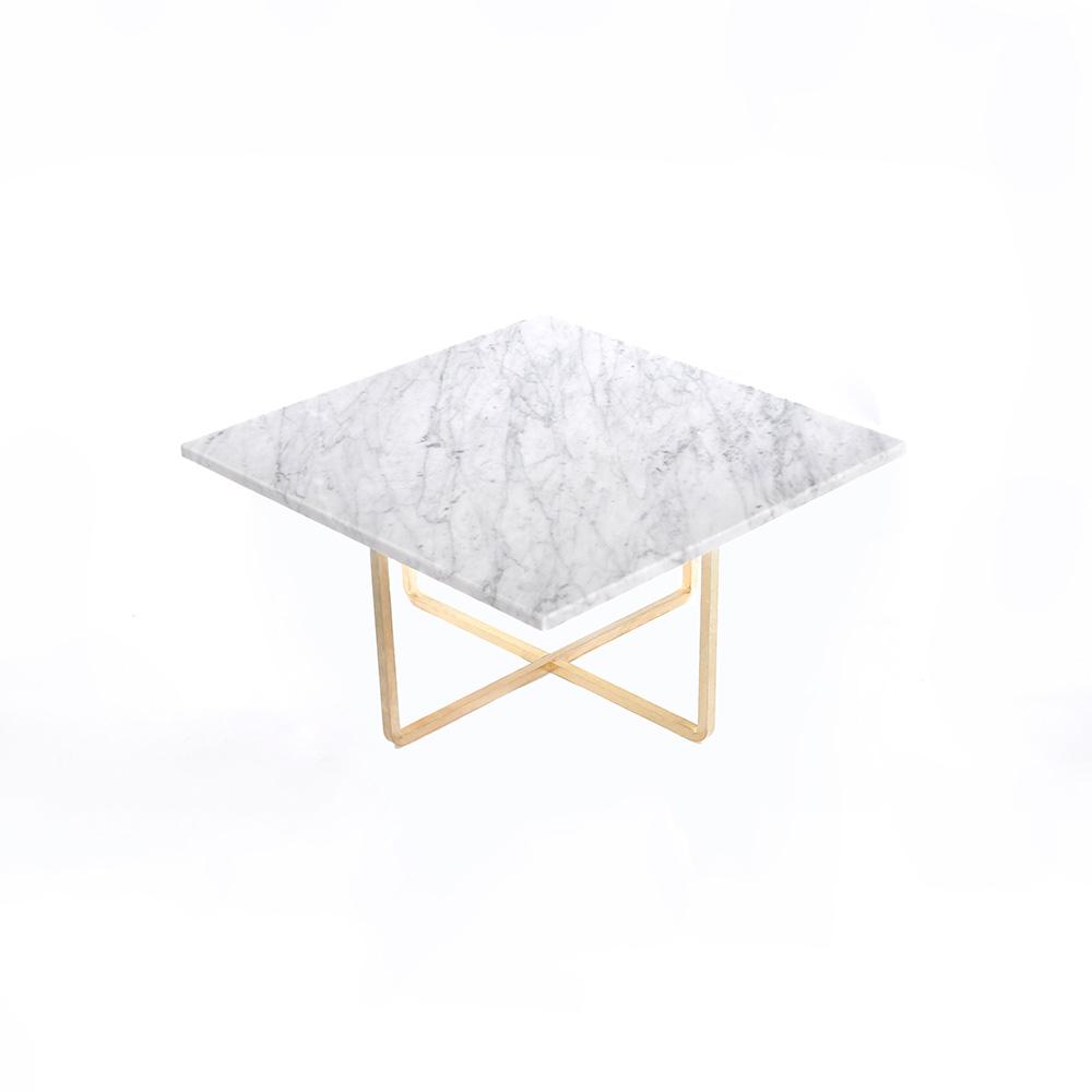 Ninety Soffbord 60x60x30 cm Vit Marmor/Mässing