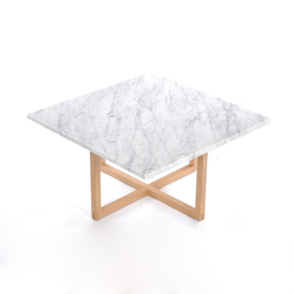 Ninety Soffbord 60x60x30 cm Vit Marmor/Trä