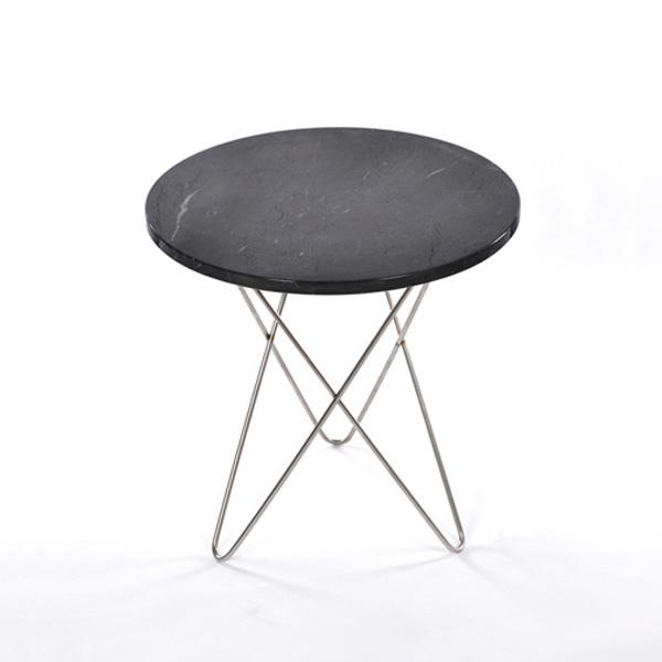 Tall Mini O Sidobord, Svart Marmor/Stål, OX Denmarq