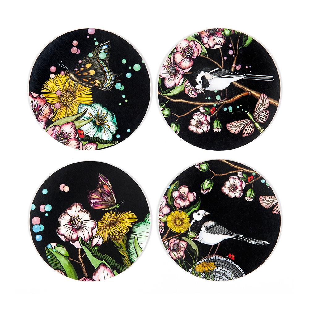 Wagtails Spring Glasunderlägg Nadja Wedin Design