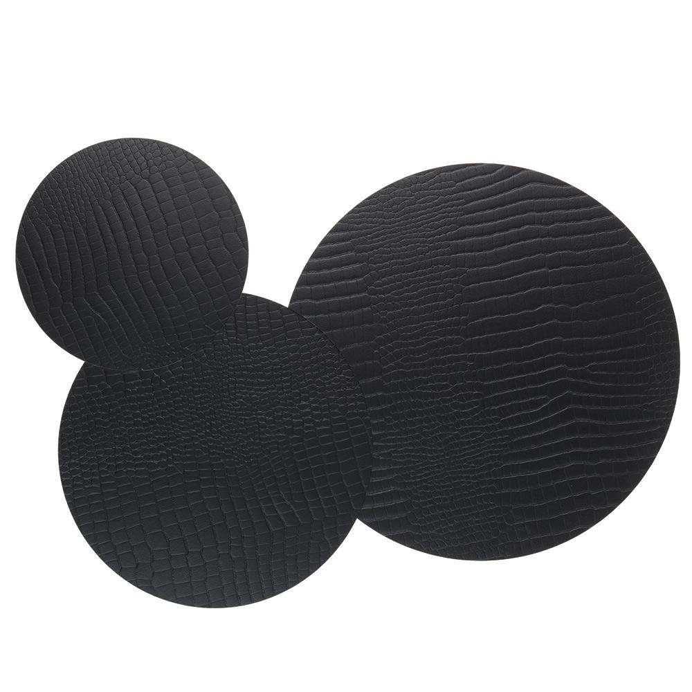 Circle Triple Set Grytunderlägg Croco Black