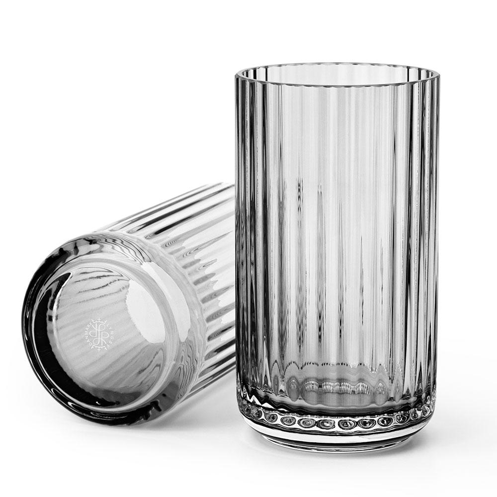 Lyngbyvasen Glas 15cm Rökgrå