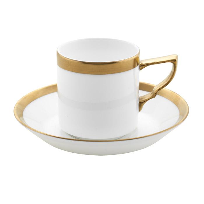 Nobel Kaffekopp Med Fat Vit/Guld