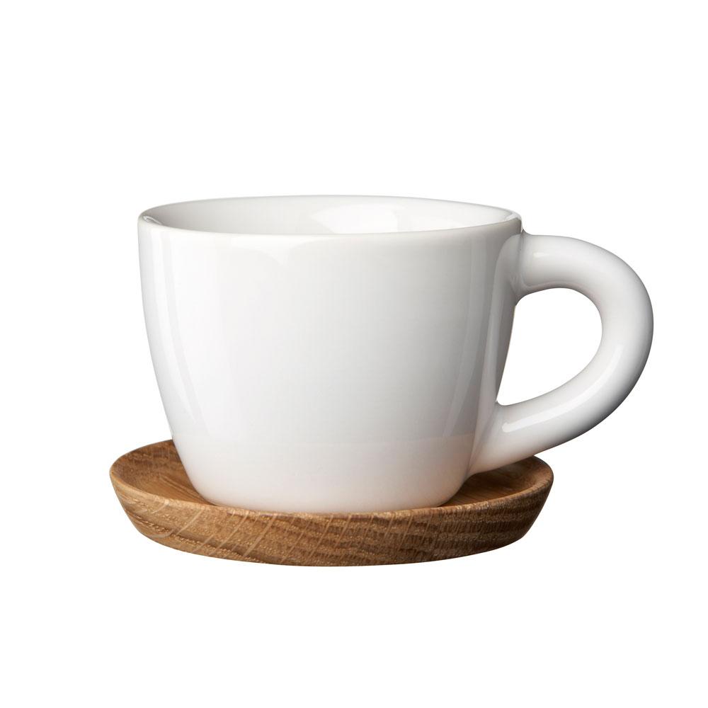 Höganäs Espressomugg med Träfat Vit Blank 10cl