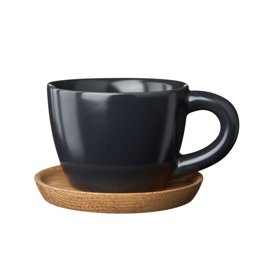 Höganäs Espressomugg med Träfat Grå Matt