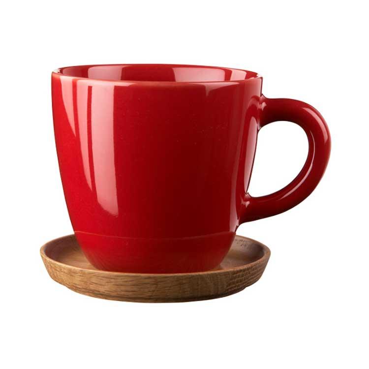Höganäs Kaffemugg med Träfat 33 cl Röd Blank