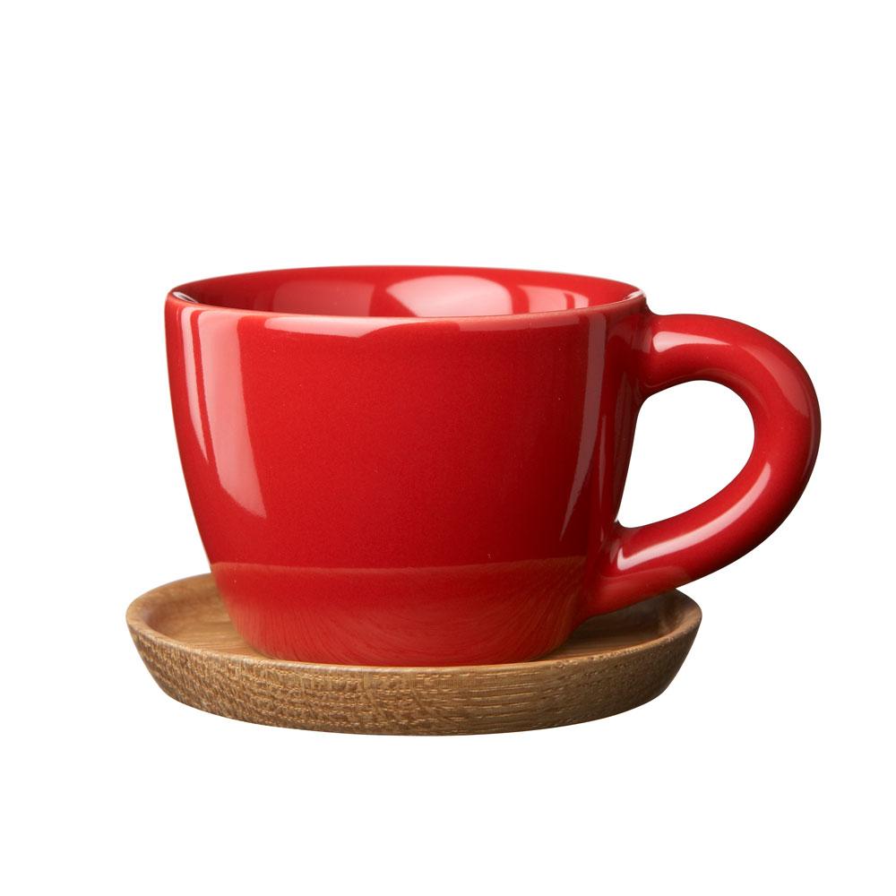 Höganäs Espressomugg med Träfat 10cl Röd Blank