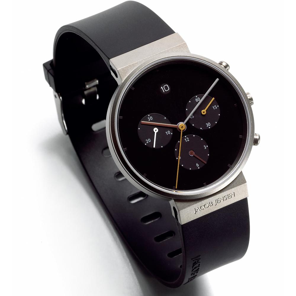 Chronograph Klocka Svart Svart Armband