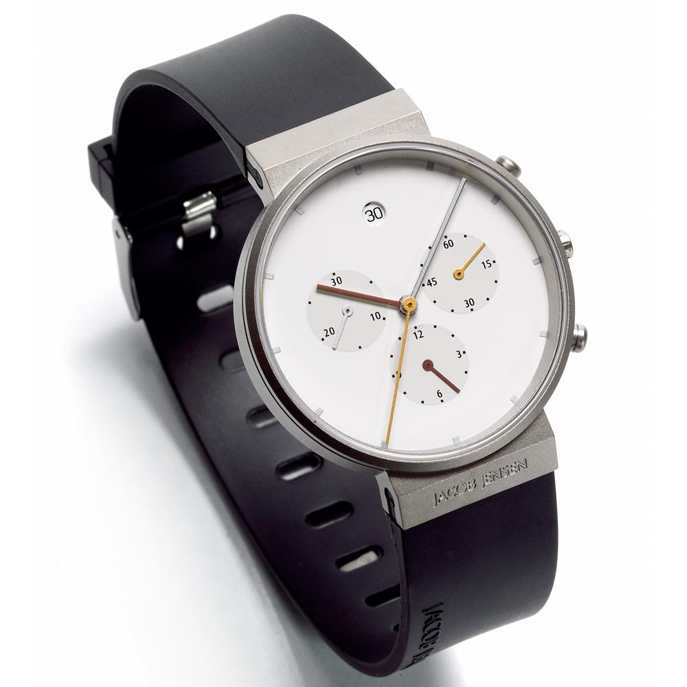 Chronograph Klocka Vit Svart Armband