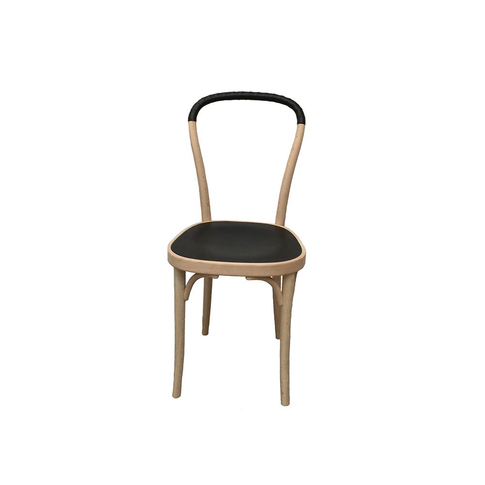Vilda 2 Stol, Vitoljad Bok/Svart Läder, Gemla