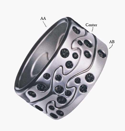Fusion Ring i Vitguld Med Svarta Diamanter Mitten