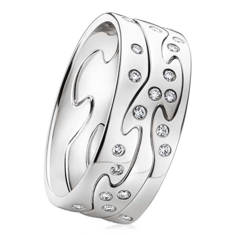 Fusion Ring 3 delar Vitguld/23 Briljanter