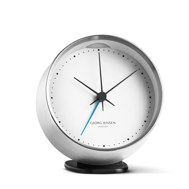HK Klocka m. larmfunktion, Stål, Vit 10 cm