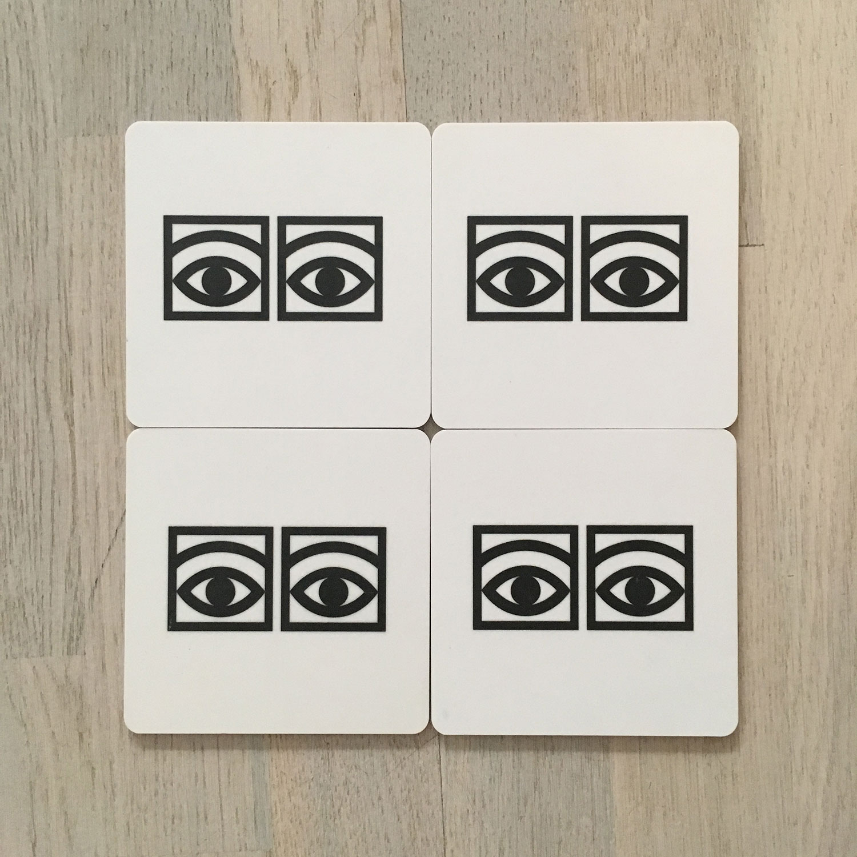 Ögon Cacao Glasunderlägg 9x9cm 4-Pack, Vit, Olle Eksell