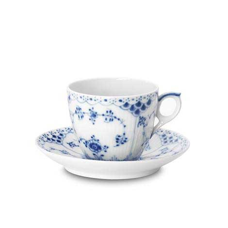 Blue Fluted Half Lace Kaffekopp Och Fat 17cl, Royal Copenhagen