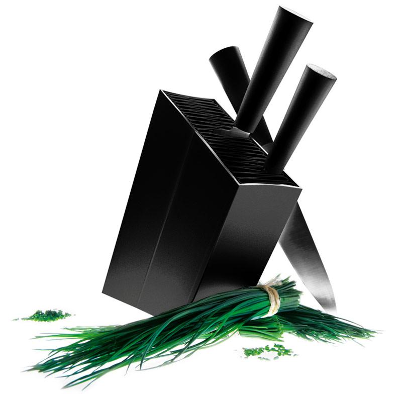 Knivblock Lutande (svart)