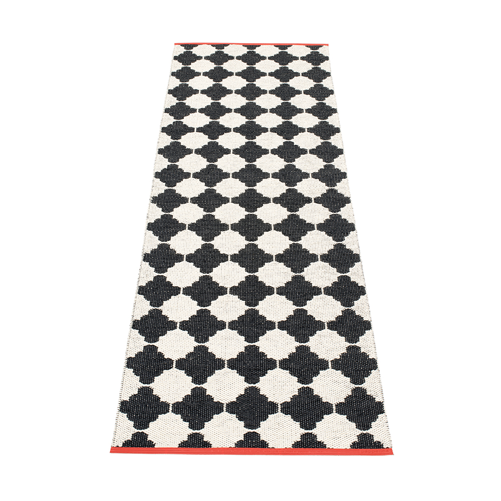 Marre Matta 70x225 cm, Black/Vanilla/Coral, Pappelina