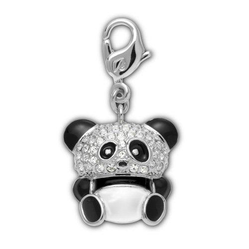 Panda Berlock Svart/Vit/Rhodium Shiny