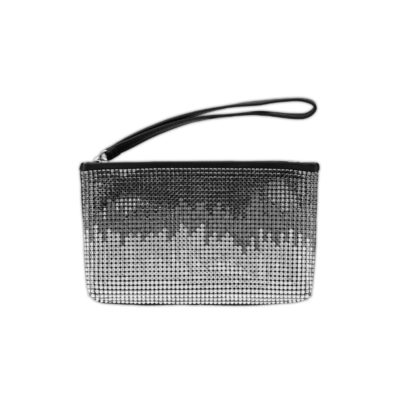 Glam Black and White Pattern Wristlet Pouch