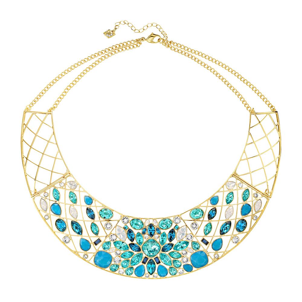 Cyan Halsband PVD Guld/Ljus Kristall