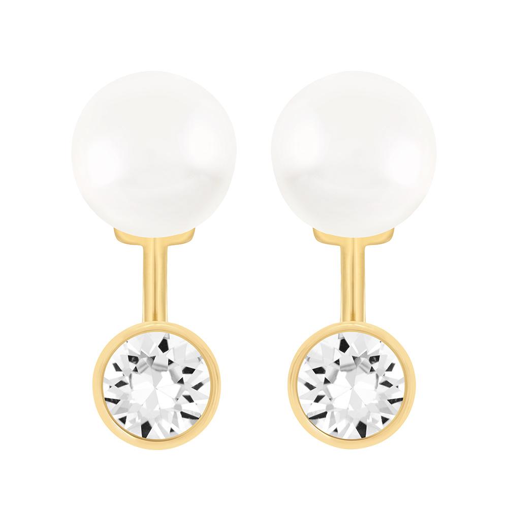 Caress Jackets Örhängen Guld/Kristall/Pärla
