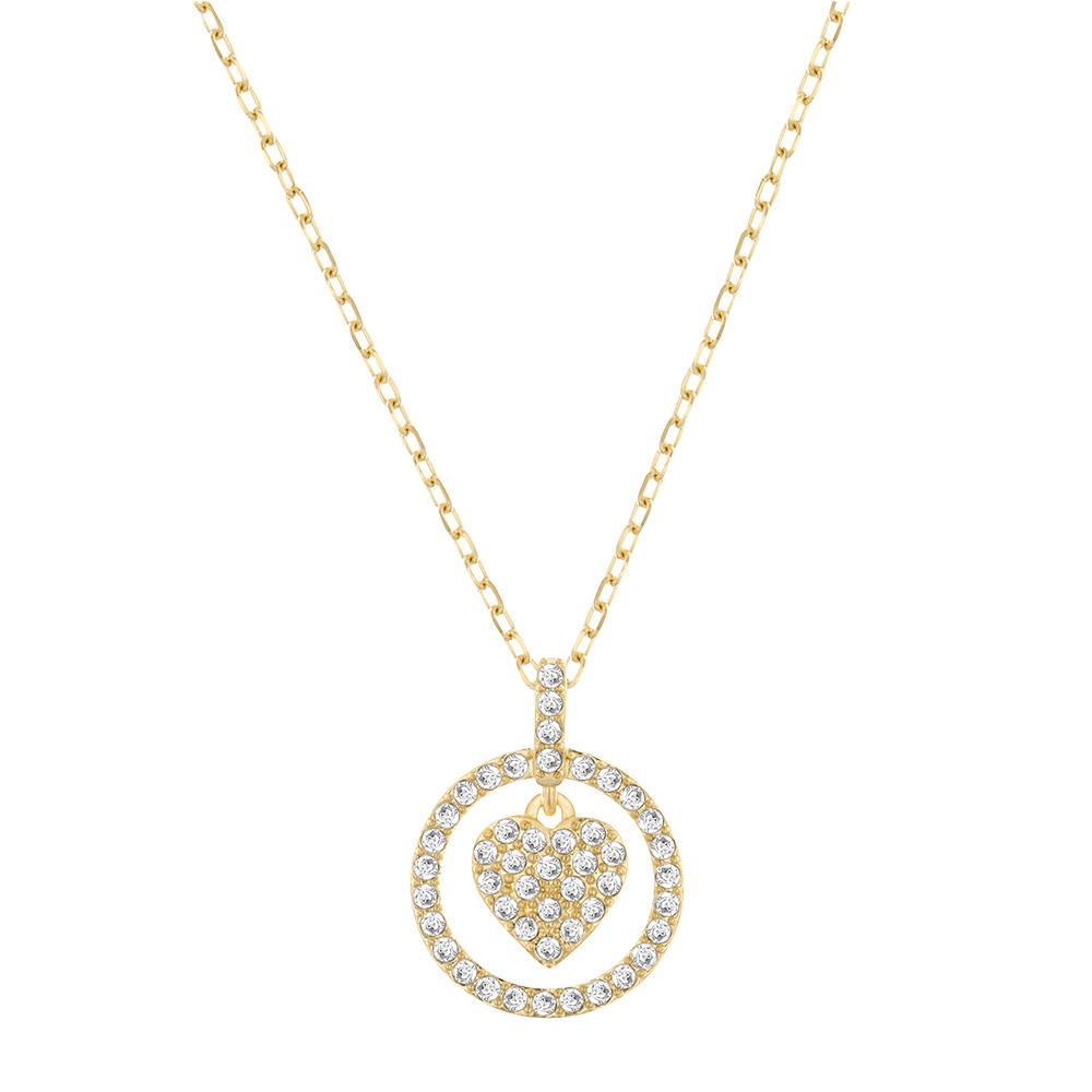 Crocus Hjärt Halsband Guld/Kristall