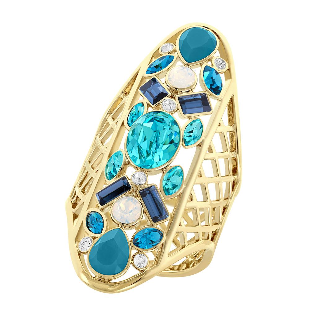 Cyan Ring PVD Guld/Ljus Kristall