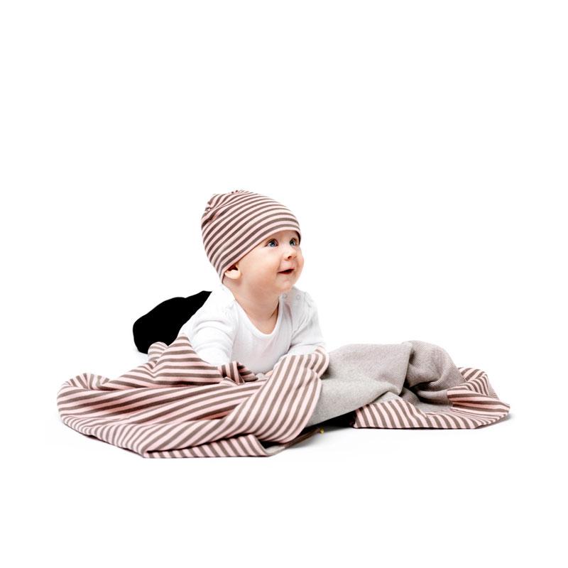 Cotton stripe filt och mössa, rosa/khaki
