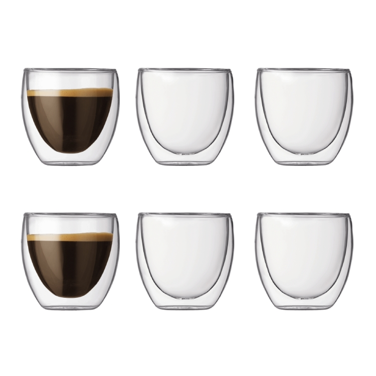 pavina dubbelv ggad espresso glas 8 cl 6 pack bodum bodum. Black Bedroom Furniture Sets. Home Design Ideas