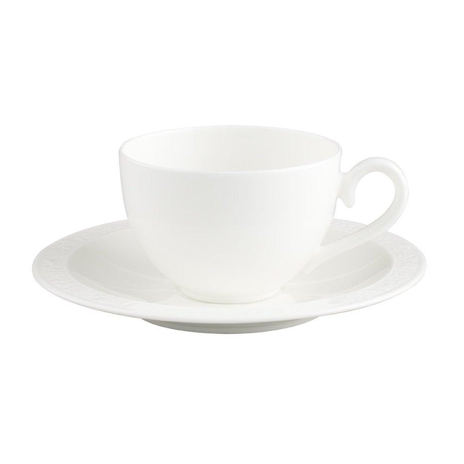 White Pearl Kaffe/tekopp och fat
