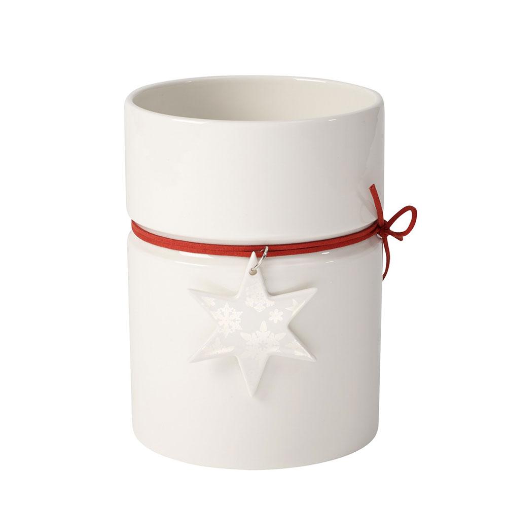 Modern Christmas Vas M H18cm, Vit