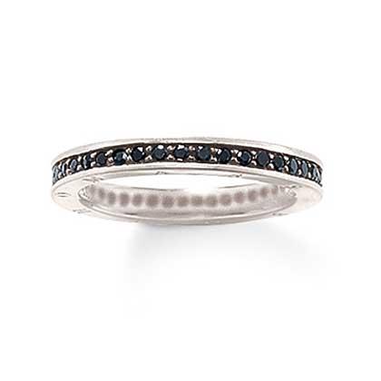 silver ring svart sten
