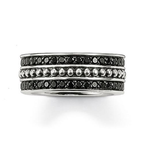 Thomas Sabo Rebel At Heart, Ring med små svarta stenar, Silver