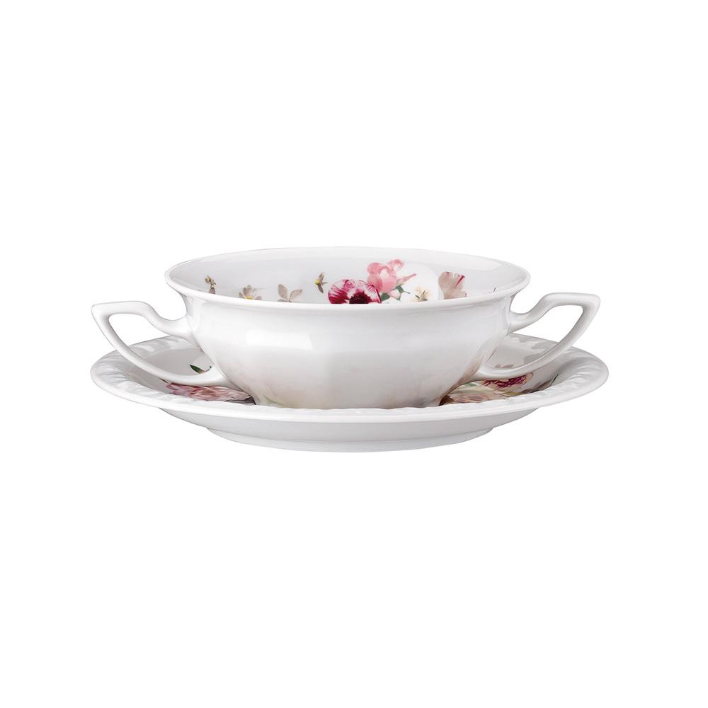 Maria Pink Rose Soppskål Med Fat 27 cl