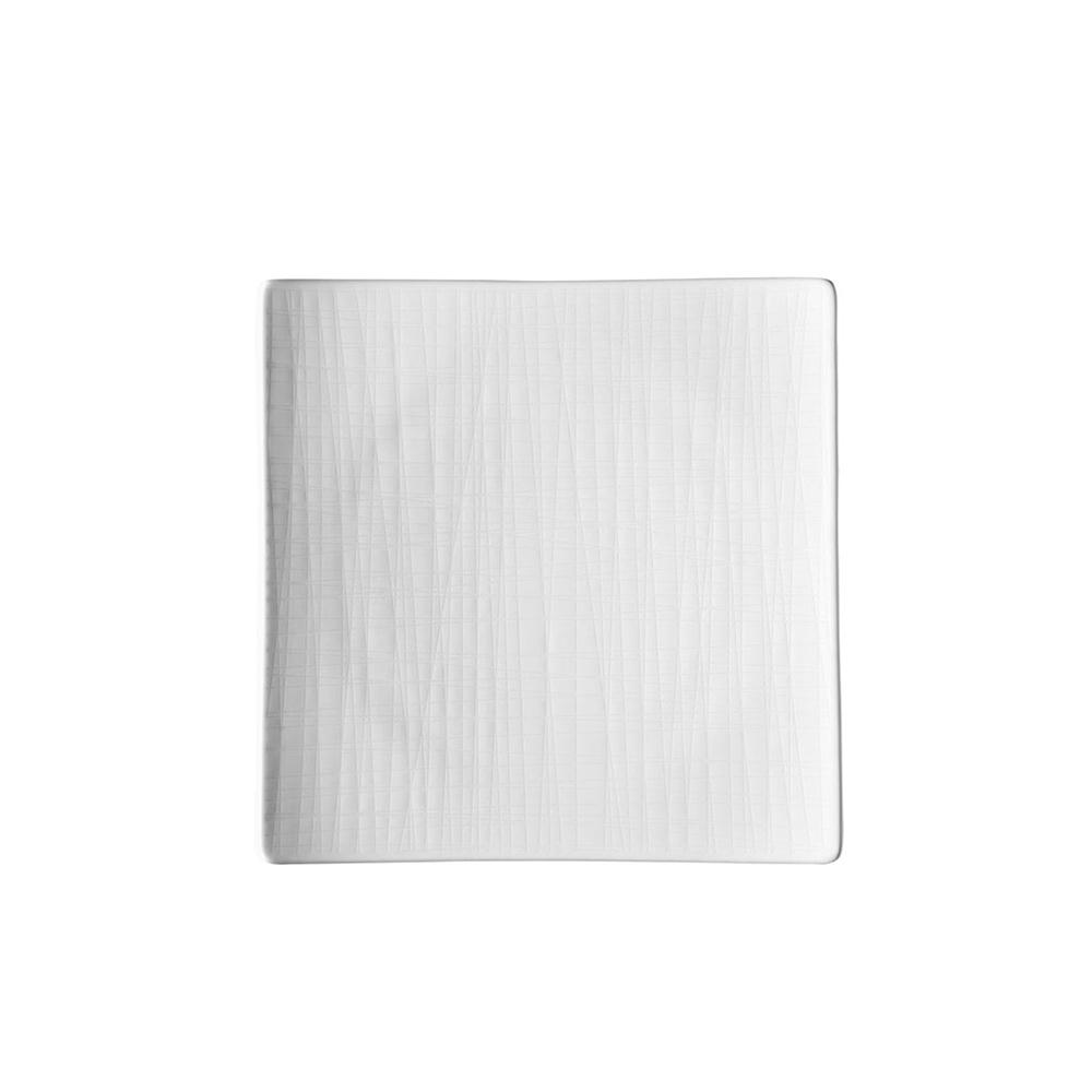 Mesh Relief Flat Tallrik Kvadratisk 22 cm Vit